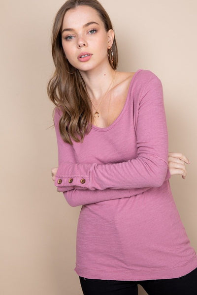 Mauve Long Sleeve Knit Top