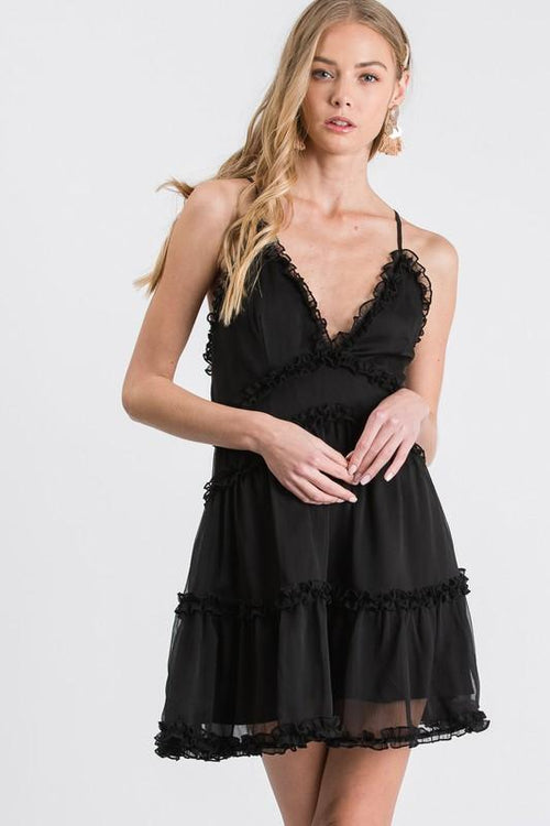 Black Ruffled Crossed Back Dress - THE WEARHOUSE