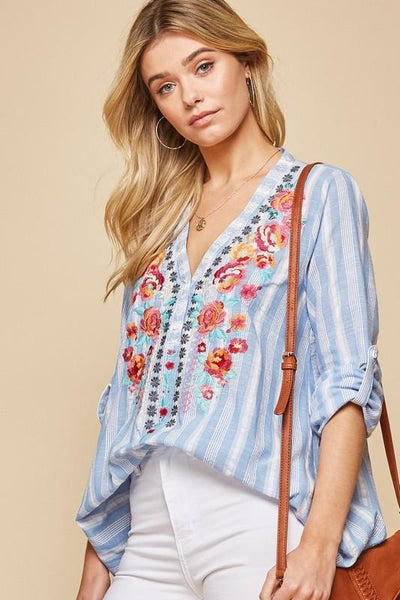 Blue and White Striped Embroidered Top