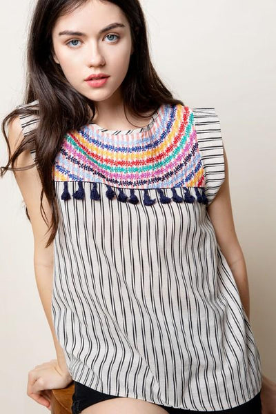 Multi Color Mixed Print Embroidered Top