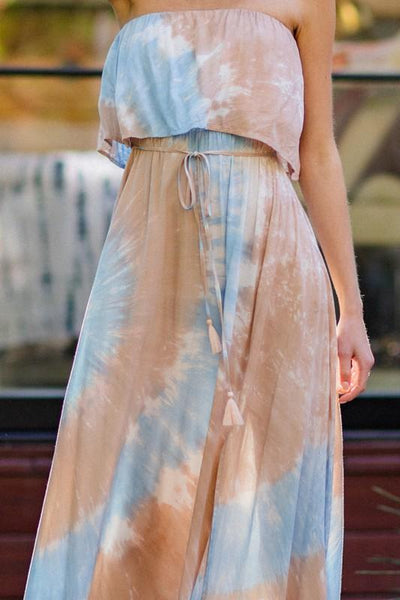 Light Blue and Blush Tie-Dye Strapless Ruffle Maxi Dress