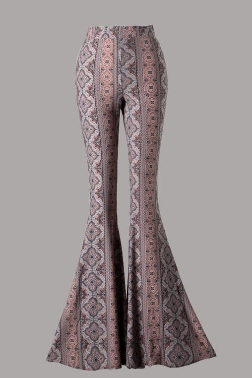 Black and Mauve Medallion Print Flare Knit Pants - THE WEARHOUSE