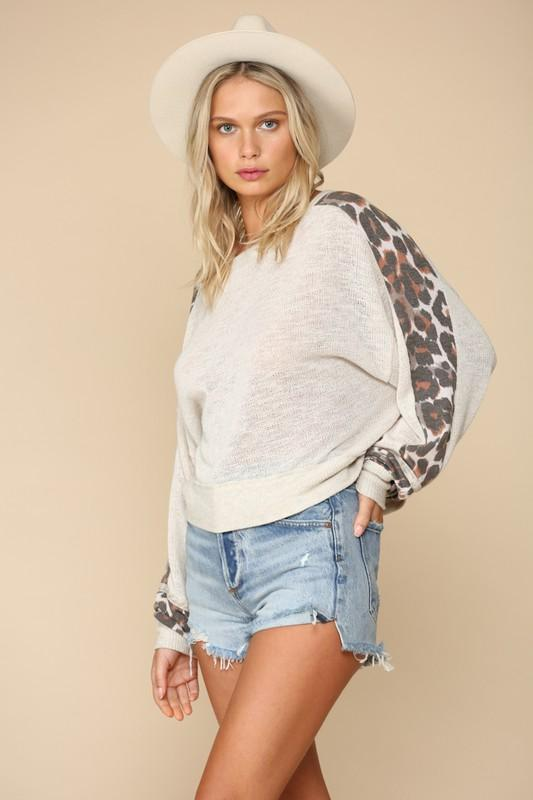 Natural Leopard Long Sleeve Knit Top