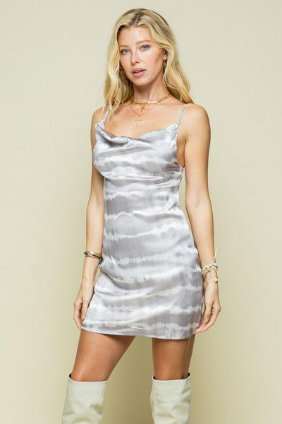 Silver and Mocha Tie Dye Cowl Neck Spaghetti Strap Dress