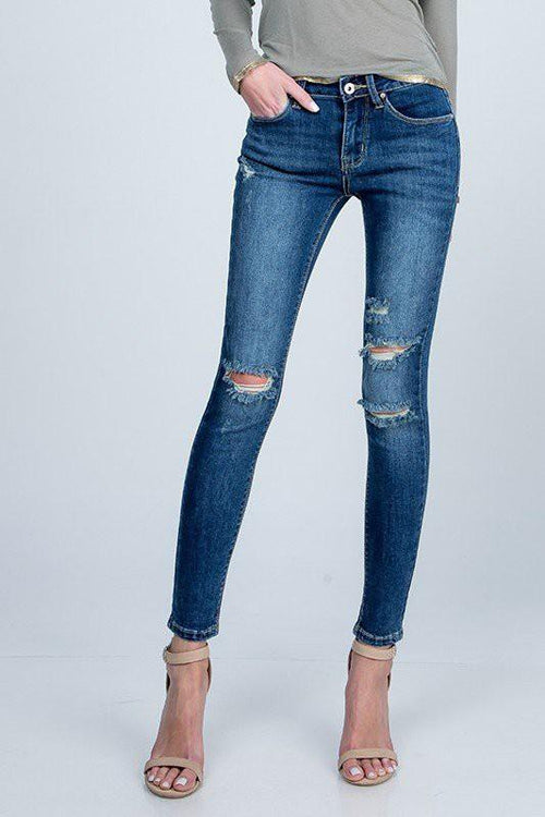 Maci Mid Rise Skinny Distressed Jeans - THE WEARHOUSE