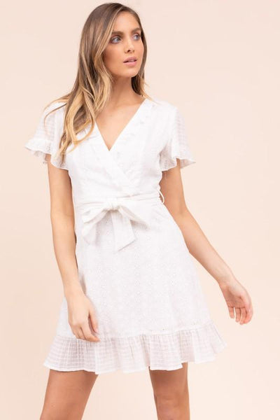 Off White Eyelet Wrapped Short Sleeve Dress - THE WEARHOUSE