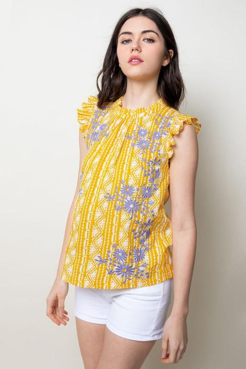 Yellow Embroidered Short Flutter Sleeve Top