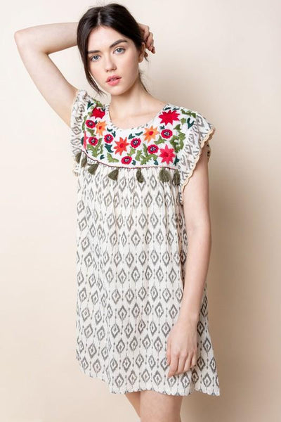 Red Floral Embroidered Ikat Dress