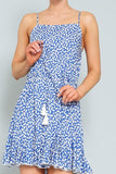 Blue Multi-Print Sleeveless Ruffled Mini Dress - THE WEARHOUSE