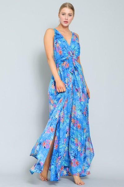 Blue Multi-Colored Sleeveless Tie Front Maxi Dress