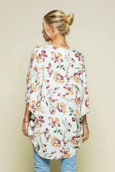 Ivory and Floral Pleated Kimono - THE WEARHOUSE