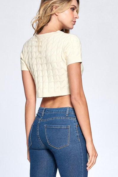 Cream Colored Jess Button Front Cropped Top