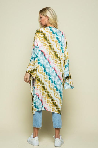 Olive and Teal Multi Colored Kimono - THE WEARHOUSE