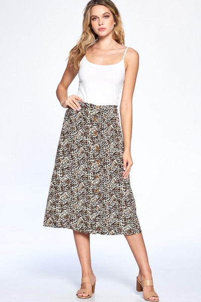Leopard Print Front Button Midi Skirt