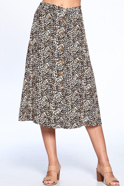 Leopard Print Front Button Midi Skirt - THE WEARHOUSE