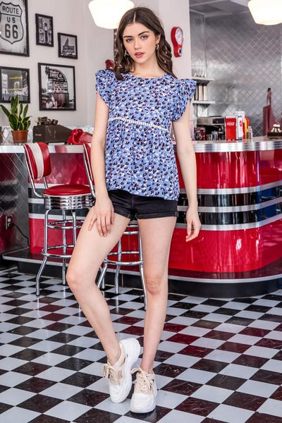 Periwinkle Blue Flutter Top - THE WEARHOUSE