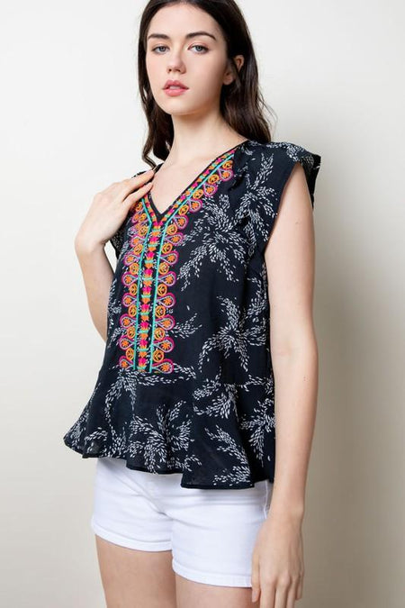Navy Multi Colored Stripe Embroidered Top