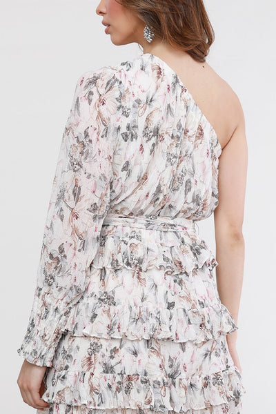 Cream and Floral One Sleeve Printed Dress