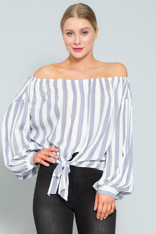 White and Navy Off Shoulder Tie Front Top