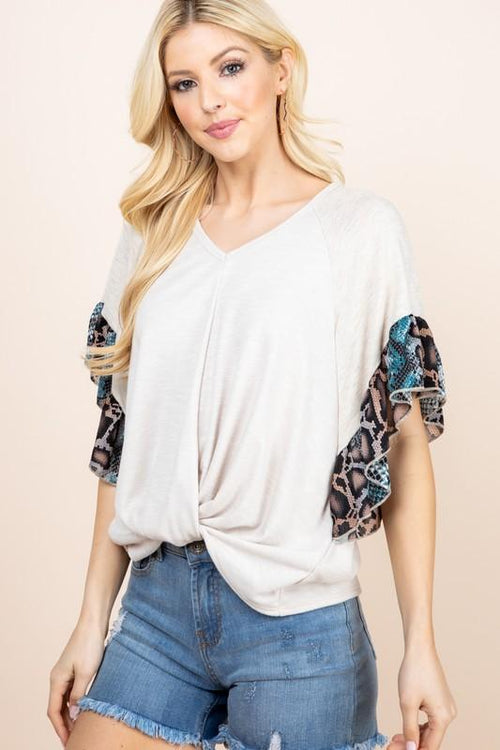 Oatmeal and Teal Contrast Ruffle Sleeved Twist Front Top