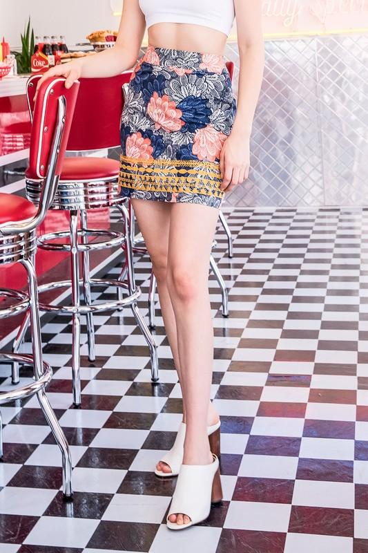 Multi Floral Embroidered Skirt