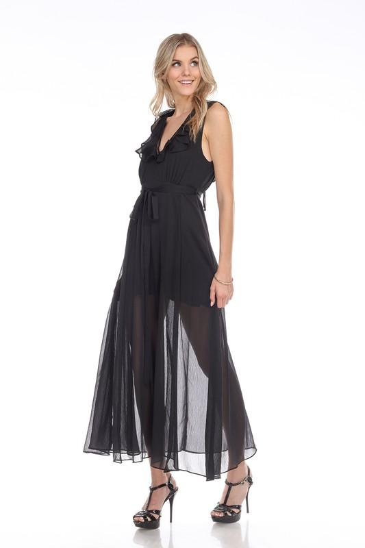 Black Woven Slit Maxi Dress - THE WEARHOUSE