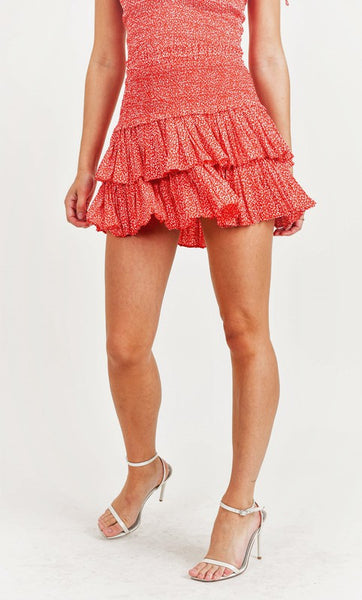 Red Animal Print Smocking Layered Skirt