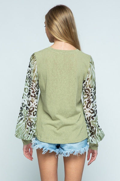 Olive Crew Neck Top with Animal Print Sheer Sleeves