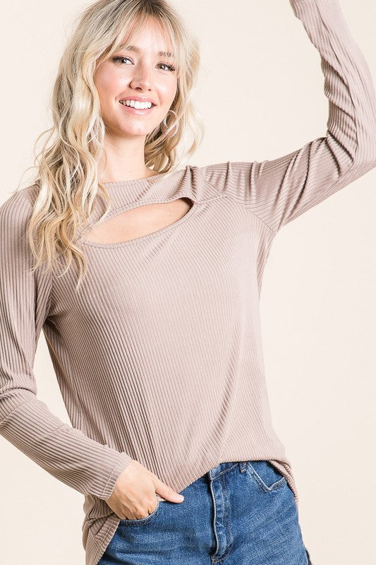 Mocha Cut-Out Ribbed Top