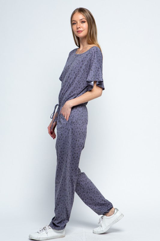 Grey Ruffle Sleeve Jumpsuit