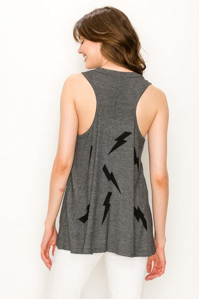 Charcoal Colored Thunder Bolt Tank - THE WEARHOUSE