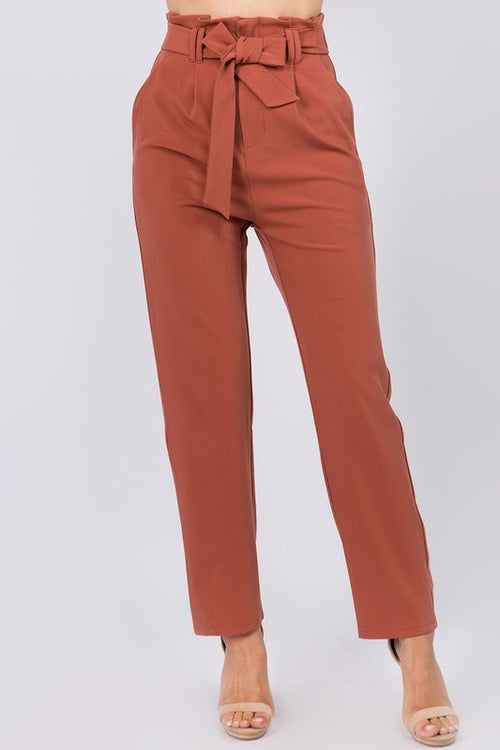 Rust Colored Beleted Cargo Pants
