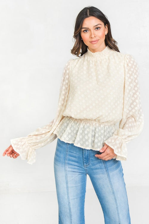Ivory Textured High Neck Smock Top