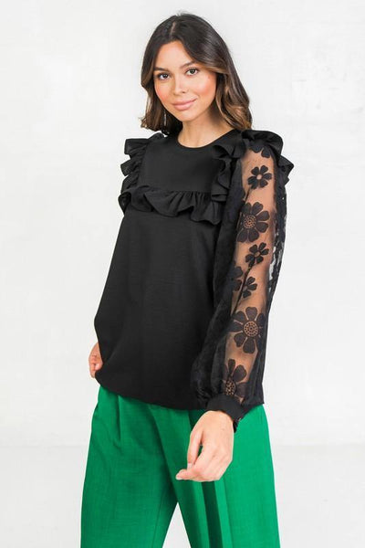Black and Floral Lace Mix Top