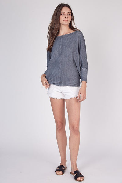 Grey Waffle Pattern Open Shoulder Top