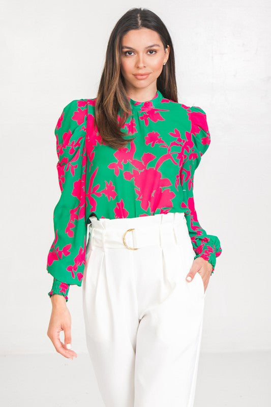 Green and Pink Printed Woven Top