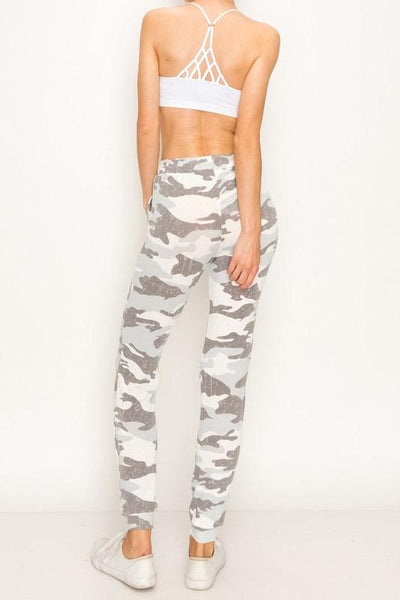 Heather Grey Camo Print Joggers - THE WEARHOUSE