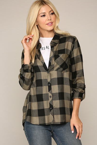 Sage Plaid Button-Up Top