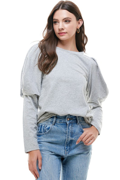 Grey Leg of Mutton Sleeve Top