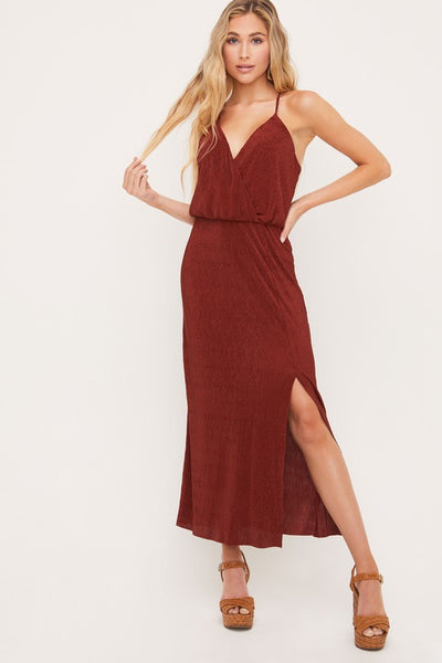 Cognac Surplice Pleated Maxi