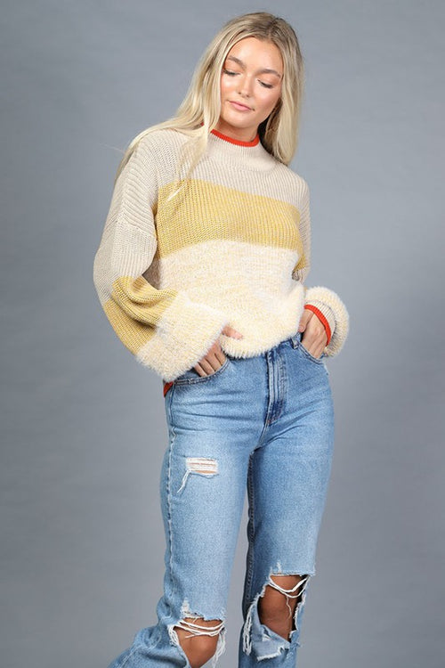 Oatmeal and Yellow Long Sleeve Mock Neck Sweater
