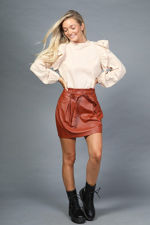 Brick Colored Faux leather Mini Skirt