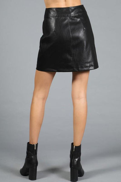 Black Faux Leather Button Down Skirt