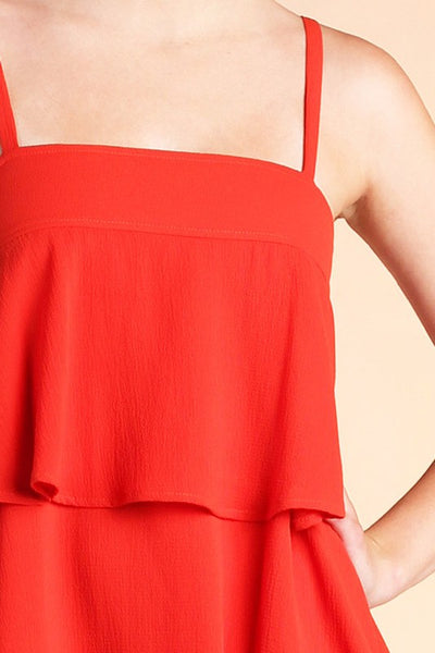 Chili Red Textured Solid Triple Ruffle Cami Dress