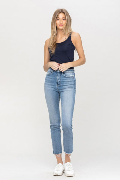 High-rise Slim Crop Straight Leg Jeans