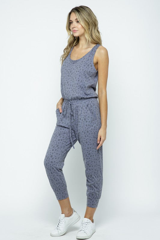 Charcoal Sleeveless Front Tie Jumpsuit