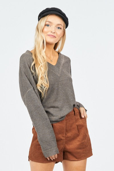Charcoal Waffle Knit Top
