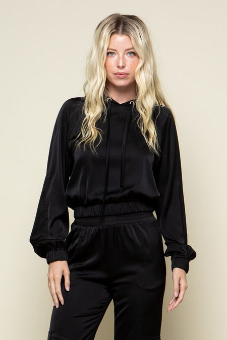 Black Front Wrap Top with Snap Button Detail