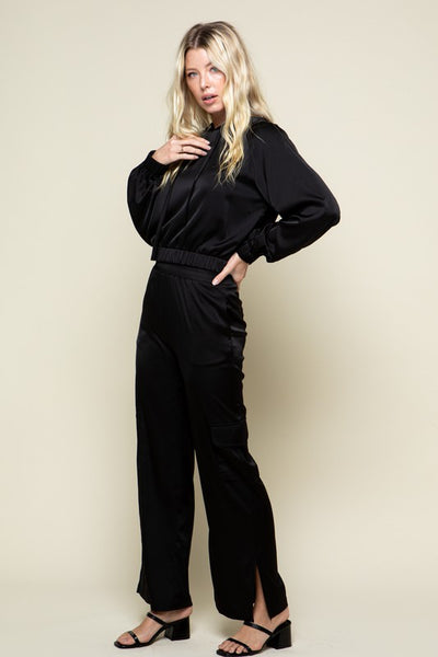 Black Samantha Satin Pants