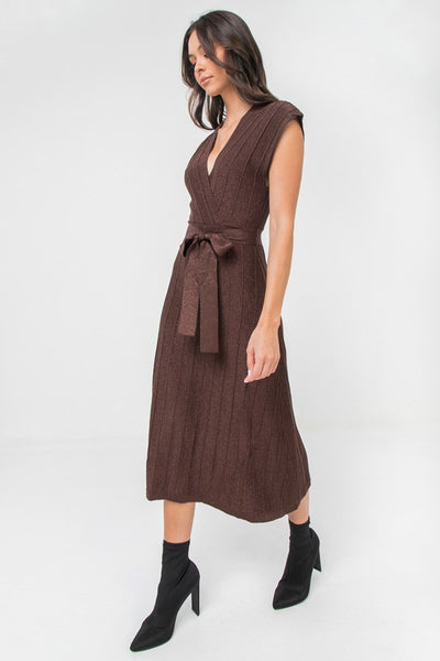 Bronze Lurex Sweater Midi Dress